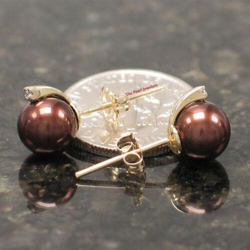 14k or Jaune Mousseux Diamant; Chocolat Cultured Pearl Stud Boucles d/'oreilles-TPJ