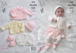 4186d9ea9 King Cole Baby Double Knitting Pattern Matinee Coats Cardigan ...