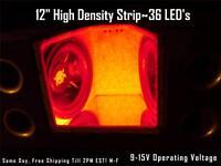 12 30cm Red Led Strip Speaker Box-amp-interior Lighting 36 Led's Waterproof