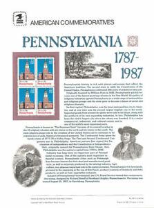 #291 22c Pennsylvania Statehood #2337 USPS Commemorative Stamp Panel
