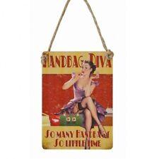 HANDBAG DIVA SO MANY HANDBAGS SO LITTLE TIME Vintage Style Mini Metal Plaque