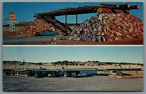 Postcard-Dinosaur-City-AZ-c1960s-Park-Motel-Route-66-Coffee-Shop-Service-Station