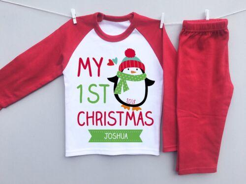 PERSONALISED BABY/'s 1st CHRISTMAS eve toddler pyjamas pjs set milestone penguin