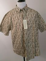 Palmland Cotton Mens Large Button Front Short Sleeve Casual Brown Print Shirt