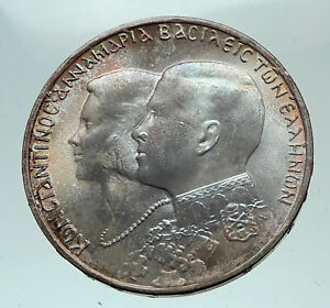 1964-GREECE-Marriage-Constantine-and-Anne-Marie-Silver-30-Drachmai-Coin-i82174