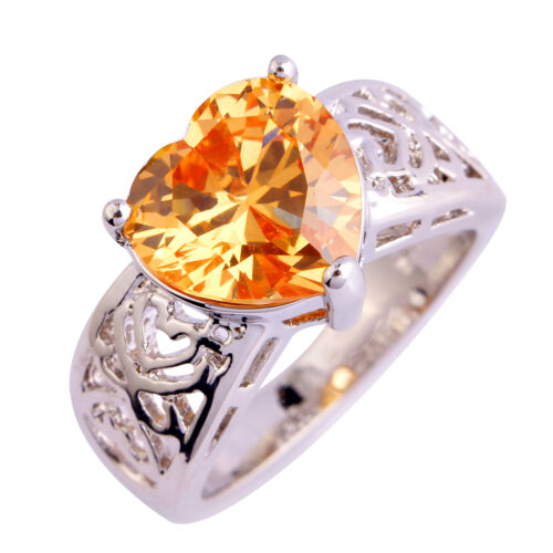Elegant love/'s Heart Cut Morganite Gemstone Silver Ring Taille 6 7 8 9 10 11 12 13