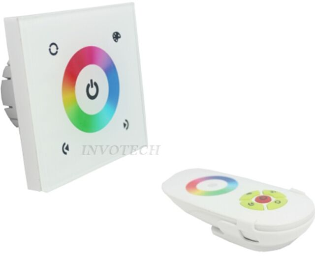 Wall Mount DC12-24V 12A LED RGB Controller Dimmer  w/ RF Touch Remote EU