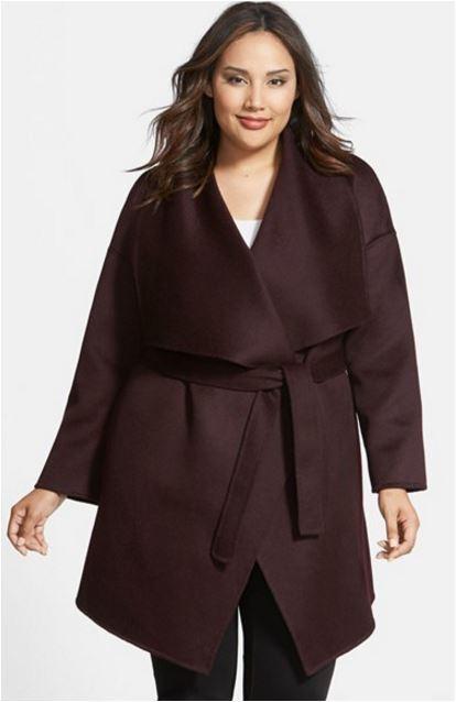 Fleuret lila Hue Wool Cashmere Blend Wrap Coat Plus Storlek 1X