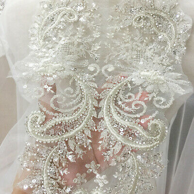 1 Pair Flower Embroidered Sequin Lace Applique Dress Gown Sew Patch DIY Fabric