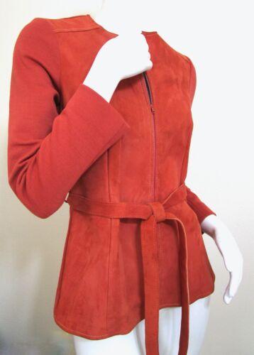 Vintage 70s Mod Orange PSI Leather Process Suede … - image 1
