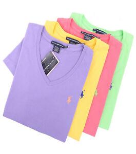 04fe13d11 Ralph Lauren Sport Women V-Neck Solid Tee T-Shirt Top Pony - Free  0 ...