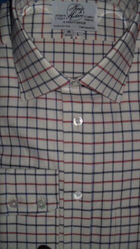 HARVIE /& Hudson 18.5//36 Cotone Spazzolato Blu//Rosso//Carbone Bracciale singolo Check Camicia