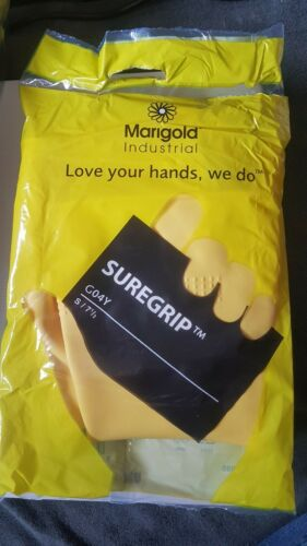12 Pairs Ansell Marigold Thick Heavy Duty Yellow Latex Rubber Gloves Size 7