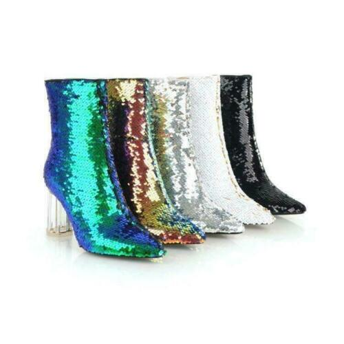 New Ladies Womens Fashion Glitter Sequin Clear Block Heel Ankle Boots Club Shoes