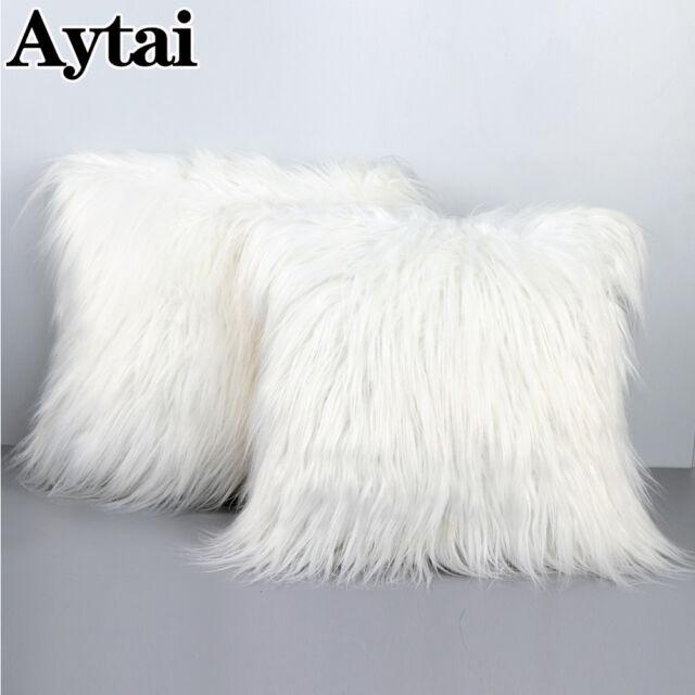 White Soft Plush Pillow Case 45x45cm