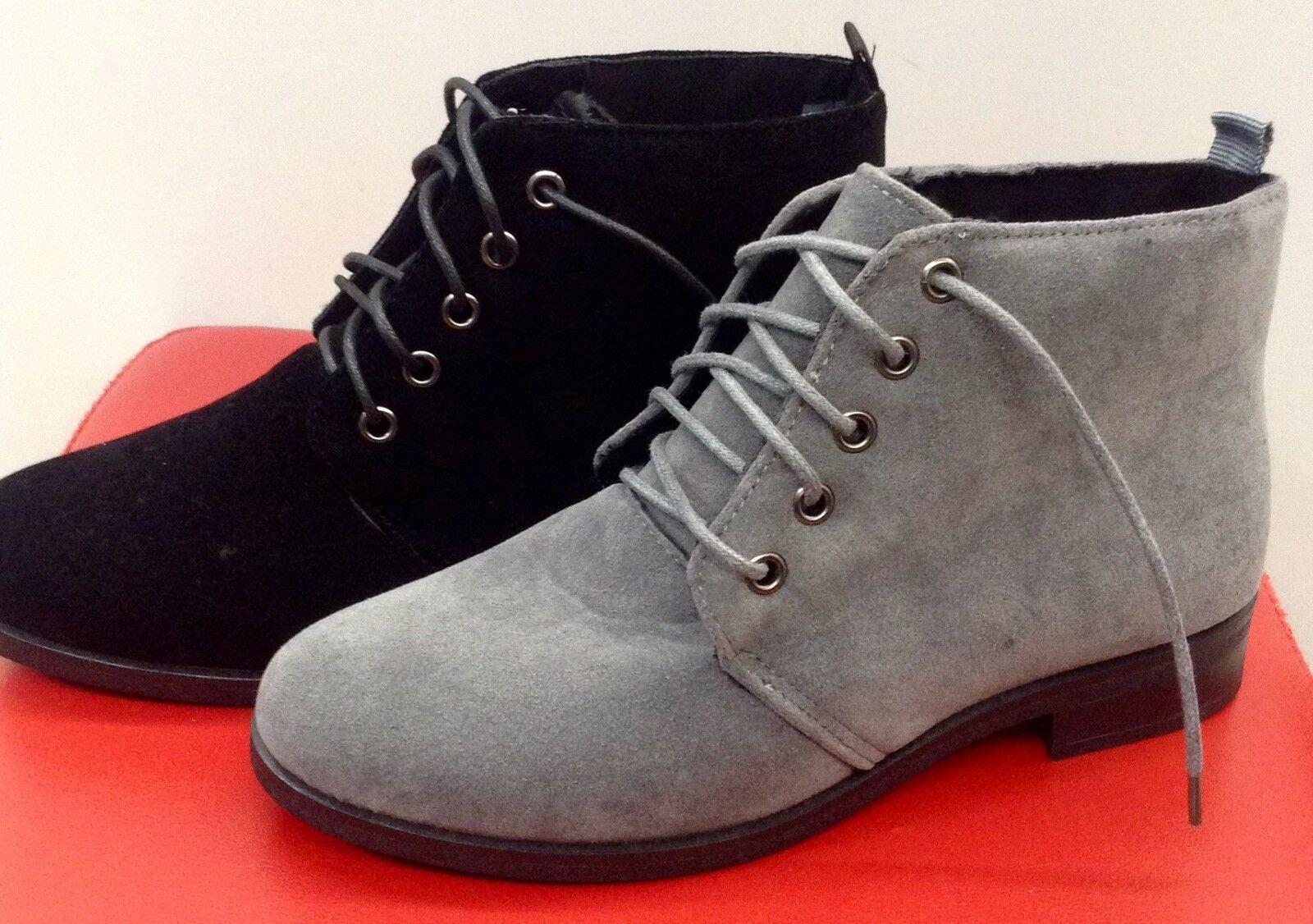 Damen Herbst/Winter Schuhe Stiefeletten Boots Schnürstiefel 36-41 Schwarz / Grau