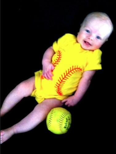 NEW Fastpitch Softball Baby Onesie Shower Gift 12 MONTHS Clothes Rabbit Skins