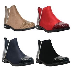 NEW-LADIES-SHINY-BLACK-SUEDE-CHELSEA-ANKLE-BOOTS-LOW-FLAT-HEEL-SILVER-SIDE-ZIP