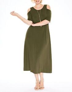 Details about Woman Within Plus Size Boysenberry Cold-Shoulder A-line Maxi  Dress Size 1X-22/24