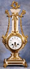 French Ornate Ormolu Dore Bronze White Marble Lyre Clock by Farcot and Vincenti