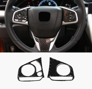 2PCS Carbon Fiber Inner Steering Wheel Cover Trim For Honda Civic 2016 2017 2018