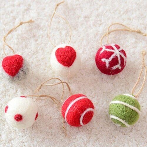Snowflake Pattern Drop Pendant Christmas Tree Wool Felt Ball Ornament Xmas Decor