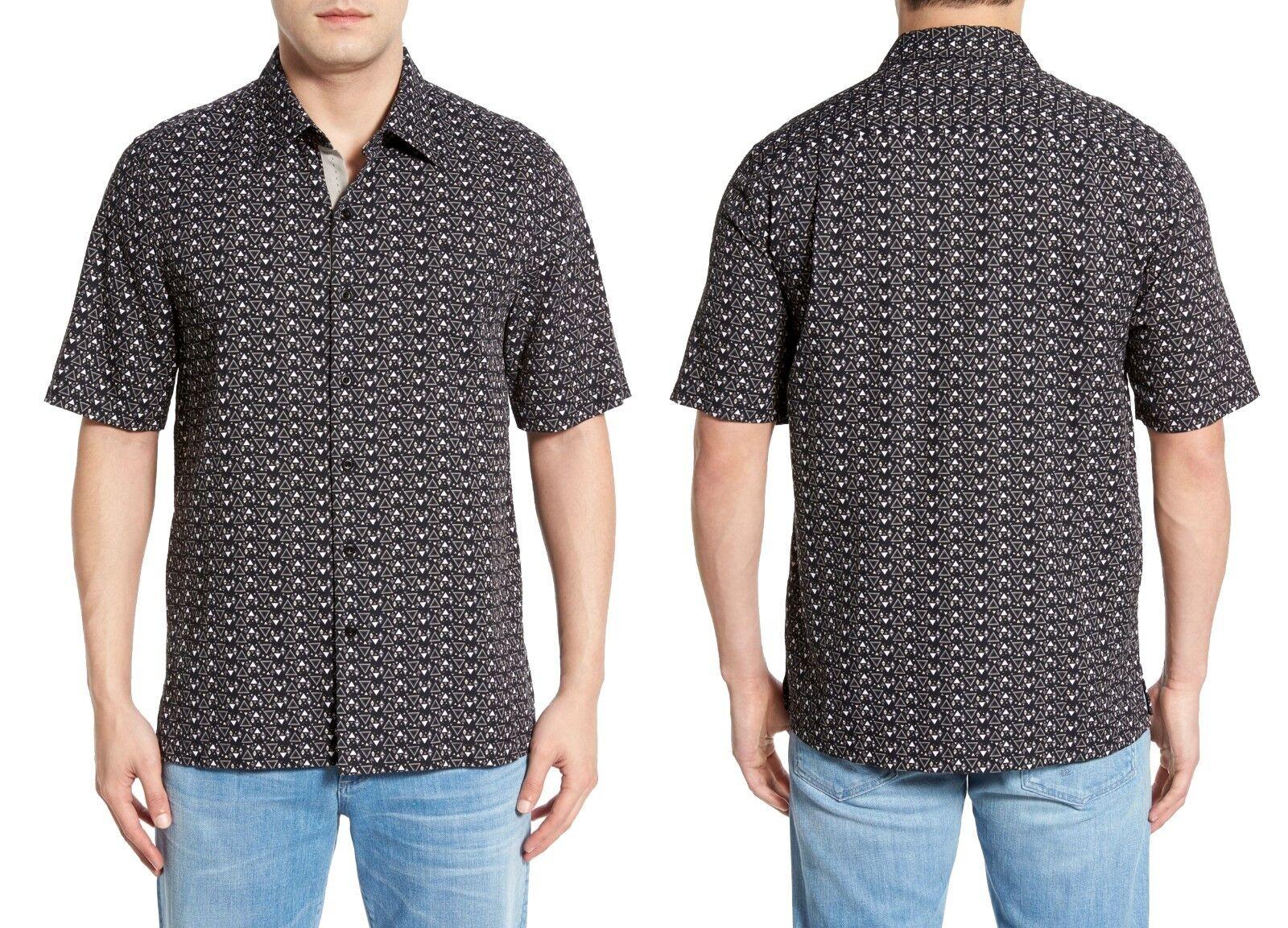 NAT Nast SECO soie coton shirt à hommeches courtes en Noir Sz. Medium Neuf avec étiquettes 155