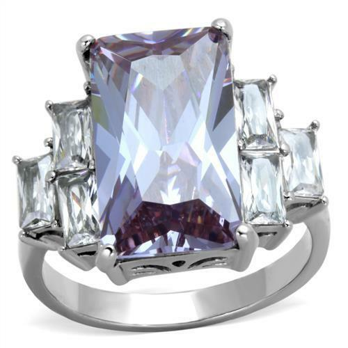 Lavender Amethyst Emerald Cut Stainless Steel Engagement Ring 6 Clear Accents