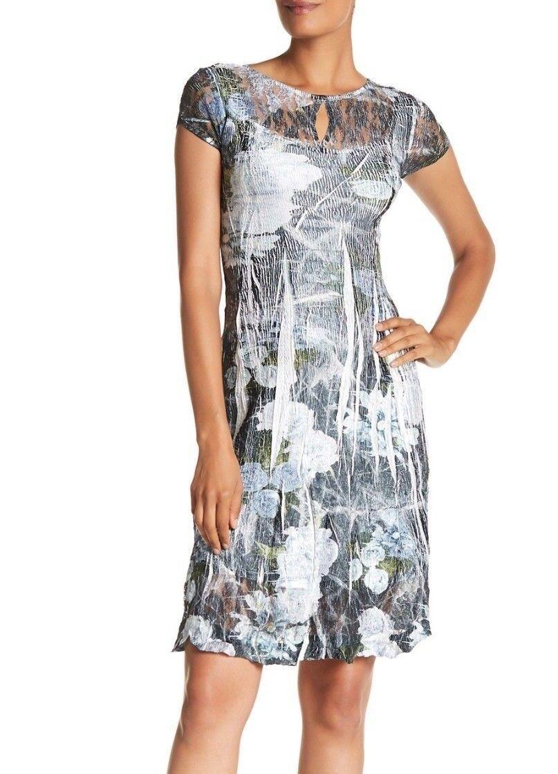 NEW KOMAROV KOMAROV KOMAROV Cap Sleeve Keyhole Dress 'Enchanted' Print Size L  282 5b9396