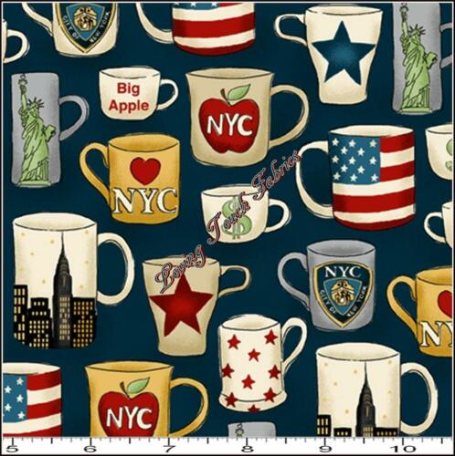 "MAKOWER UK /""NYC MUGS/"" TP1072-1 NEW YORK SMALL CUPS COTTON FABRIC PRICED @ 1//2 YD"