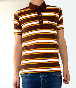 Striped vtg tee t shirt brown white yellow button polo for White shirt brown buttons