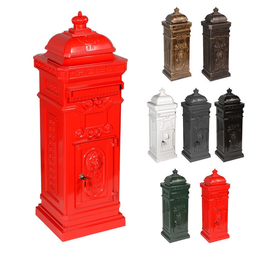 Antiker Aluminium Standbriefkasten nostalgischer Briefkasten LUNA Rot