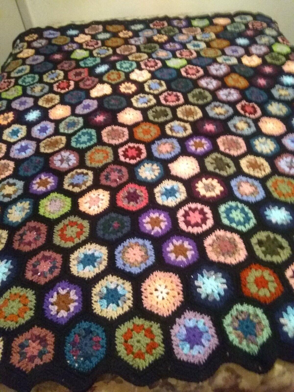 Handmade Queen Size Stained Glass Hexagon Afgan Crochet Nlsrls6561