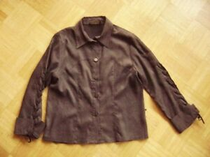 Villaggio-Blouse-Dark-Brown-Suede-Look-Size-M-gr-38-40-Lacing