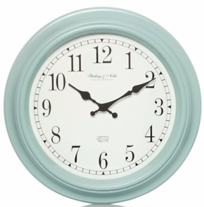 Duck Egg Blue Station Traditional Wall Clock 40cm Vintage