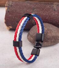 Mix Color France Flag Mens Women Rope Surfer Faux Leather Bracelet Black Clasp