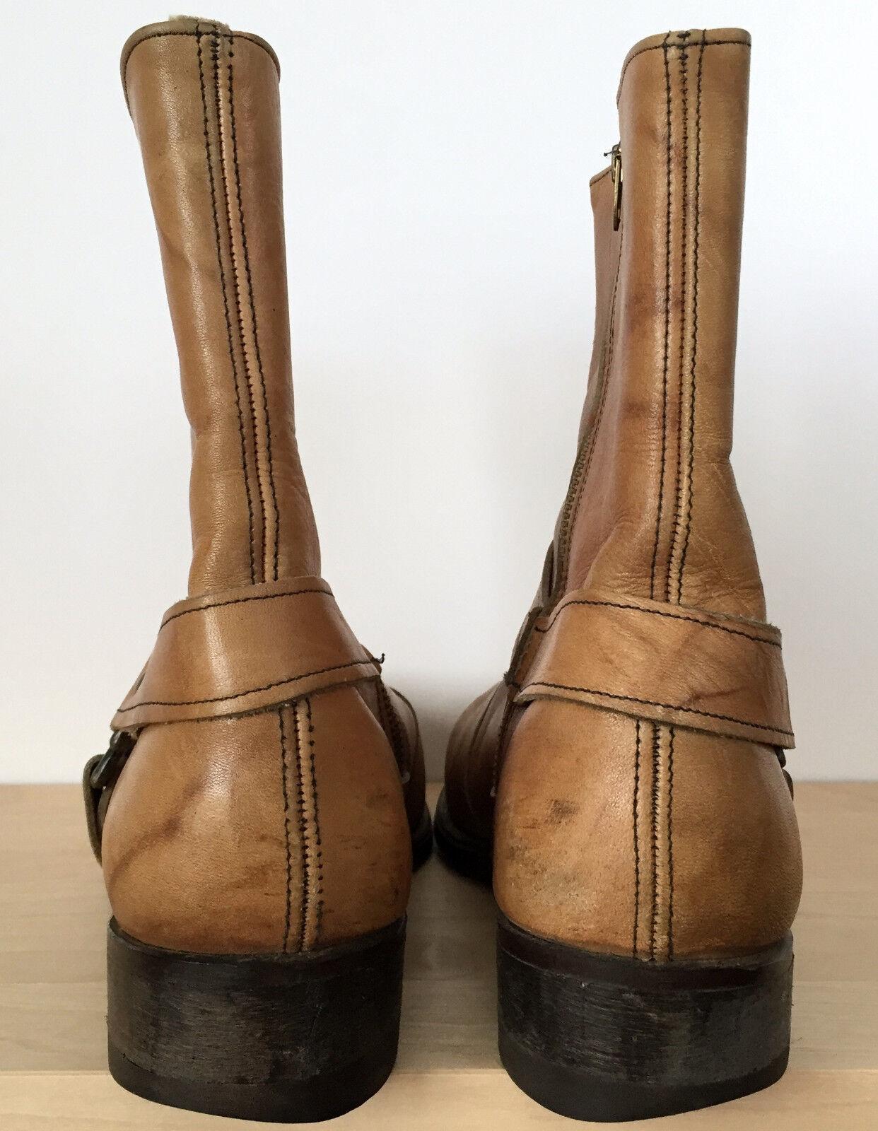 Vintage Mens Steel Toe braun Tan Zip Zip Zip Leather Motorcycle Work Stiefel Größe 9 E Wide 35e547