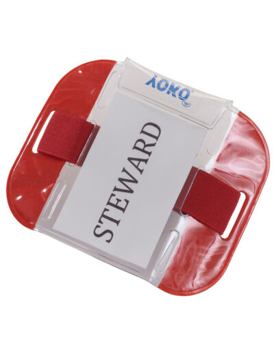 10 x RED ID ARMBAND SIA SECURITY DOOR STAFF BADGE HOLDER