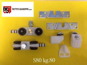 Scorrevoli-Pettiti-kit-portata-KG-80-S80-con-Binario-cm-150-pattini-Monosilent