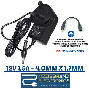 12v-1-5a-1500ma-100-240v-50-60hz-AC-DC-Adapter-Netzteil-UK-4-0mm-x-1-7mm-Spitze