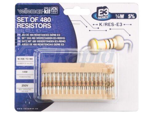 Velleman K//RES-E3 E3 Carbon Film Resistor Kit 480 piezas