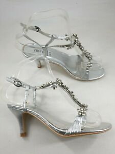 Profile size 3 (36) silver faux leather diamante slim heel strappy sandals