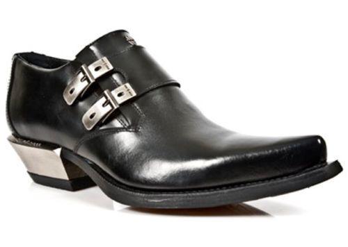 New Rock 7934-S1 Metallic Black CASUAL Leather Buckle West Steel Heel Shoes