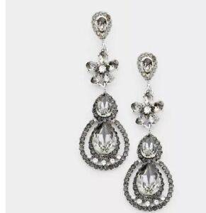 "3"" Long Gray Grey Black Dangle Glass Crystal Pageant Rhinestone Earrings"