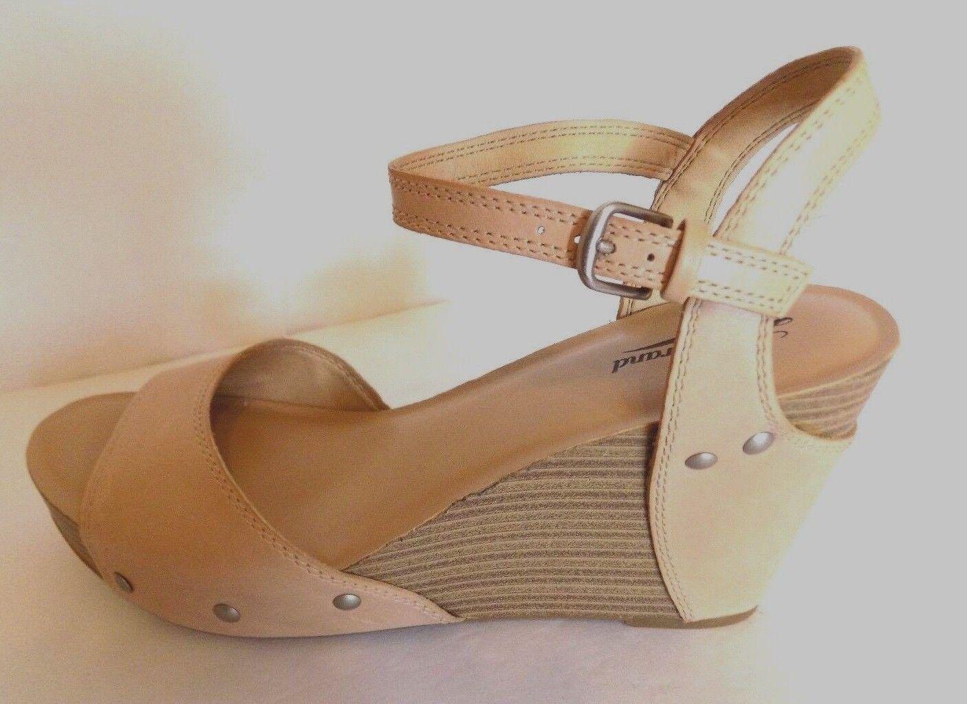 Lucky Brand Marshha Tan Leather Open Toe Toe Toe Ankle Strap 4  Wedge Sandal SZ 10 M 4cddcd