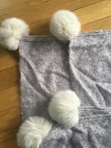 83499d68322 Nordstrom At Home Brushed Faux Fur Pom Throw BEIGE BROWN WHITE SOFT ...