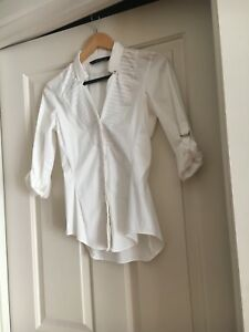 NEW-Zara-white-shirt-with-button-down-closure-and-rolled-up-sleeves-size-XS