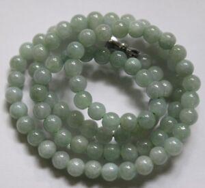 "19/"" Certified Grade A 100/% Natural Green Genuine Jadeite Jade Beaded Necklace 48"