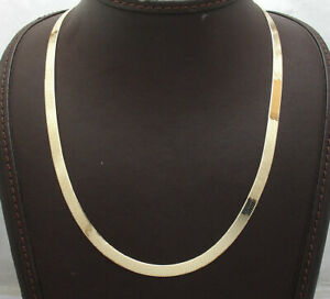 Technibond-5-2mm-Herringbone-Chain-Necklace-14K-Yellow-Gold-Clad-Sterling-Silver