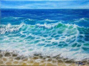 Art12-034-9-034-oil-hand-painting-ocean-landscape-Seascape-VARNISHED-Wood-frame-canvas